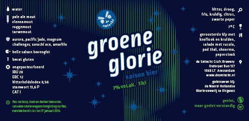 Etiket groene glorie Blauw